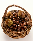 A basket of sweet chestnuts