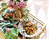 Steak with summer vegetables & a colourful courgette fan