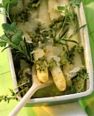 White asparagus gratin with herbs