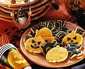 Plate of Halloween biscuits, Halloween decoration beside it