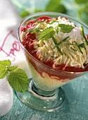 Ice cream spaghetti with raspberry sauce