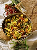 Pan-cooked rice dish with vegetables & beef strips