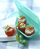 Stuffed tomatoes with olives and cream cheese and basil