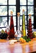 Four bottles of home-made liqueurs