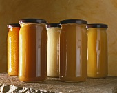 Various types of honey in screwtop jars