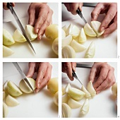 Cutting onion into wedges