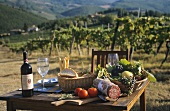 Table with bread, wine, sausage at vineyard in Tuscany