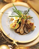Rabbit fillet with Thai asparagus and stuffed potatoes