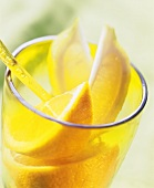 Lemon slices in a glass