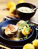 Veal tournedos with couscous and spicy lemon sauce