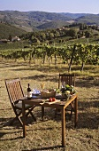 Table laid for two at a Chianti vineyard