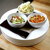 Spicy courgette salad, crispy apricot mix and crisps