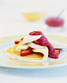 Pancake with banana and strawberry filling
