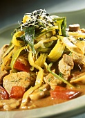 Pork ragout with leeks and pepper and mushroom sauce
