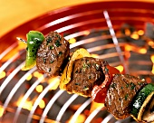 Beef and vegetable kebab on the grill