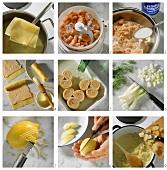 Making noodle rolls with salmon filling & fennel & lemon salad