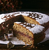 """Schwarzplententorte"" with cranberry filling, S. Tyrol, Italy"