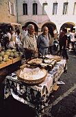 Cheese stall at a market in Provence