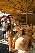 View of a market stall with cheese