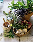 Assorted Fresh Herbs with Spices and Oil