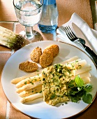 White asparagus with herb omelette & sesame potatoes