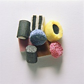 A heap of different sorts of liquorice & fruit pastilles
