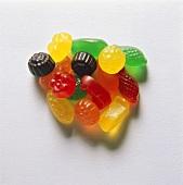 A heap of different-coloured fruit pastilles