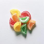 A heap of colourful, lemon-shaped fruit pastilles