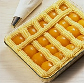 Piping marzipan lattice on apricot cake