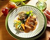 Chicken breast filet with bacon dumplings, mangetouts & carrots