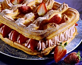 Strawberry cream gateau with choux pastry lattice & base