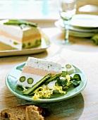A terrine with green asparagus & salad
