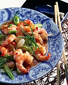 Shrimps and spring onions in chili sauce