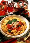 Penne al sugo di pomodoro (penne with tomato sauce, Italy)