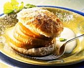Sweet apple puff & pastry burger with vanilla sauce