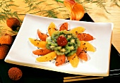Fruit salad with kiwi, orange and grapefruit