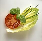 Tomatenscheibe, Basilikum, Schnittlauch & Salatblatt