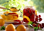 Cherry compote and sweet and sour plums