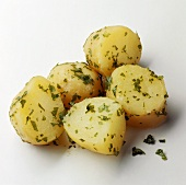 A pile of parsley potatoes