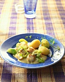 Ragout of coley fillet with potatoes & mustard sauce