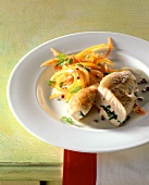 Stuffed chicken breast with peppers and carrots
