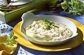 Salmone gratinato (Salmon gratin with prawns & vegetables)