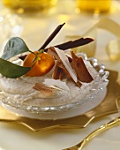 Honey gingerbread mousse with chocolate shavings & mandarin