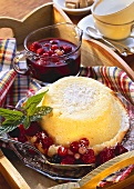 Quark souffle with berry compote