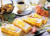 Ginger traybake; decoration: wild roses, coffee cup & liqueur