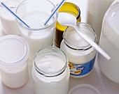 Several types of yoghurt in jars