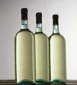 Drei Flaschen Weisswein stehen in einer Reihe