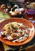 Pork escalope with homemade noodles & mushroom cream sauce