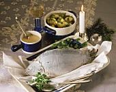 Carp cooked blue, with parsley potatoes & horseradish sauce