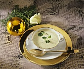 Creamy potato and cress soup